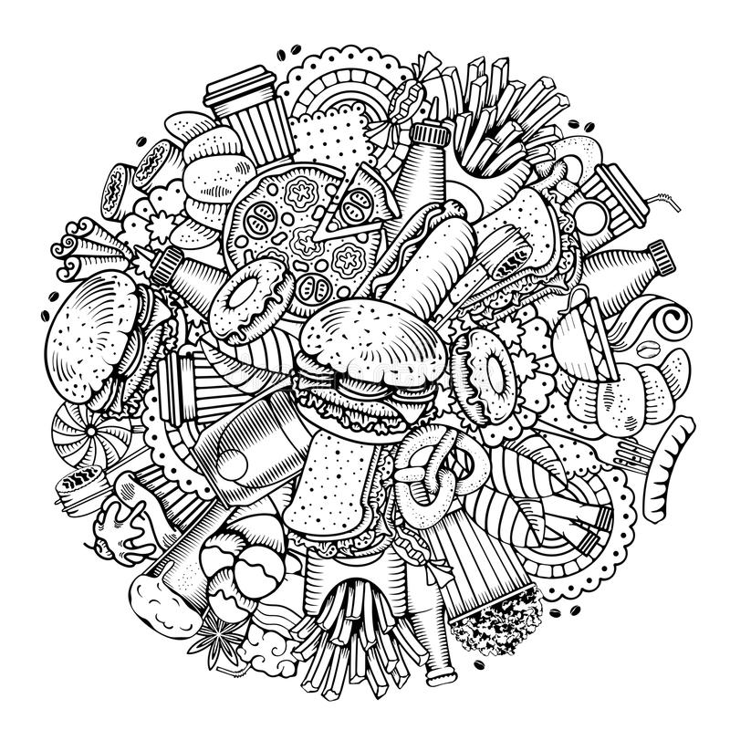 Fasta Food Round projekt royalty ilustracja