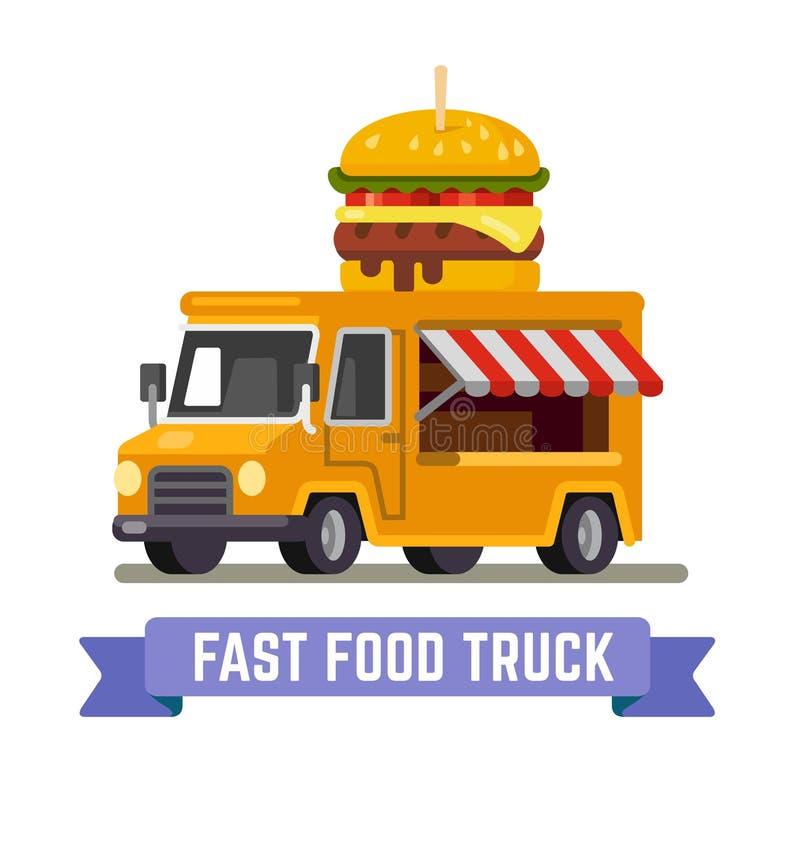 Fasta food samochód dostawczy ilustracja wektor