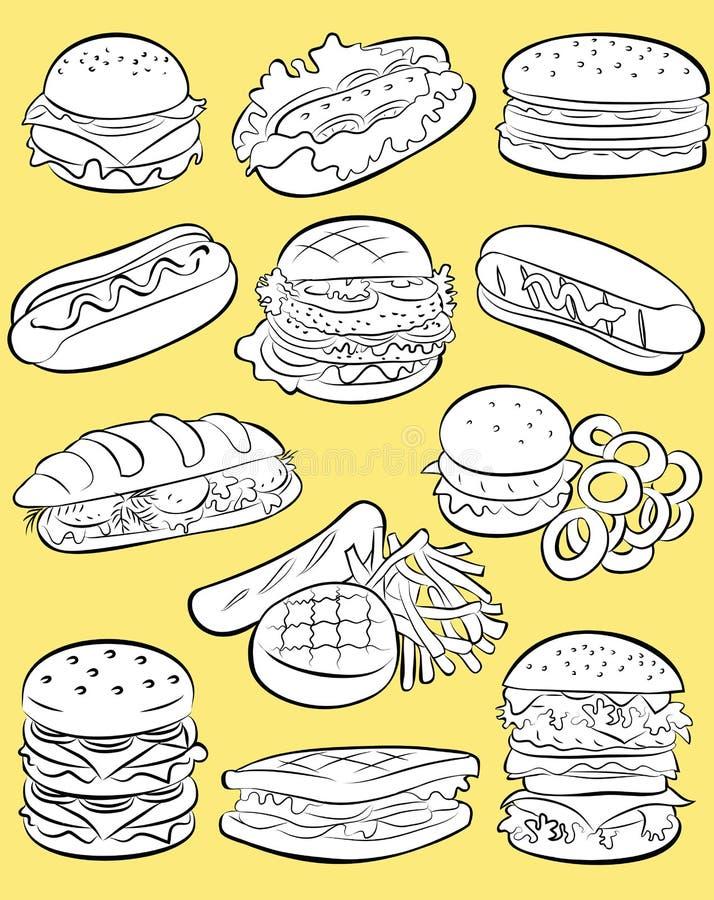 Fasta food set royalty ilustracja