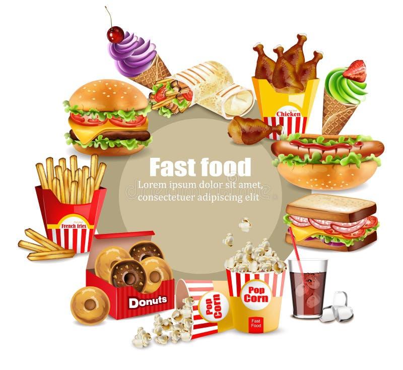 Fasta food szczęśliwi posiłki ustawiający wektor Realistyczny szczegółowy inkasowy sztandar z hotdog, hamburger, sanwich, francuz ilustracja wektor