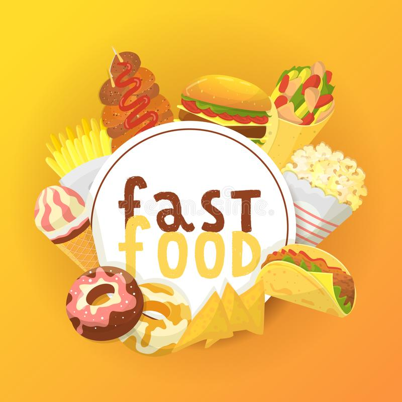 Fasta food sztandar, plakatowa wektorowa ilustracja target1200_1_ jeść Szybki sposób mieć posiłek Pizza, taco, napój, soda, franc ilustracji