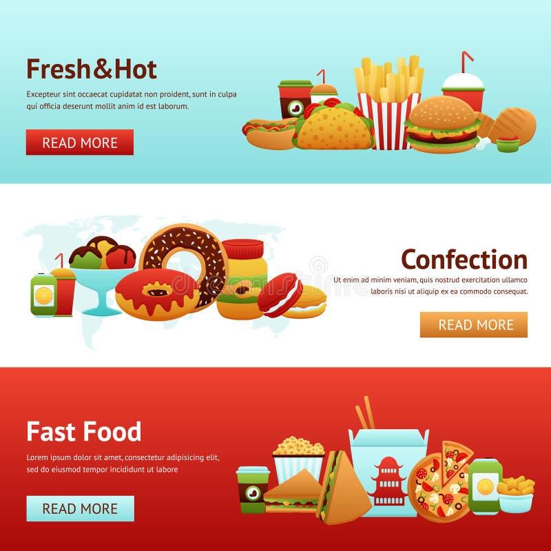 Fasta Food sztandaru set royalty ilustracja