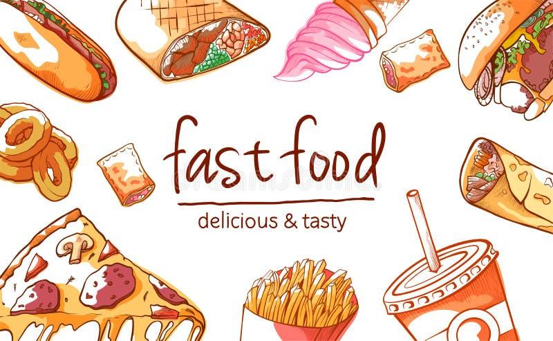 Fasta food tła wektorowa ilustracja na białym tle ilustracji