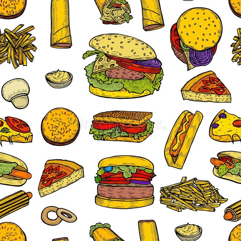 Fasta food tło ilustracja wektor