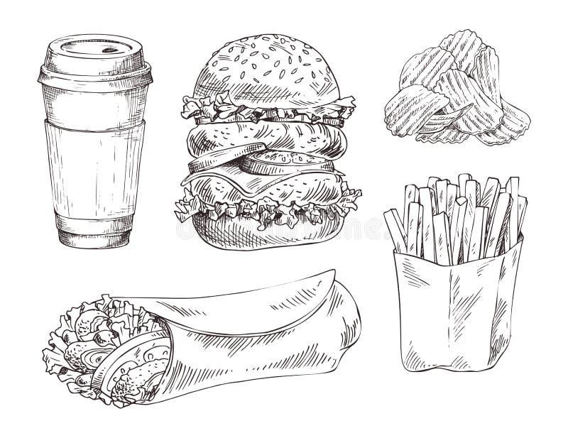 Fasta food ustalona ręka rysujący wektorowy monochromatyczny nakreślenie ilustracja wektor