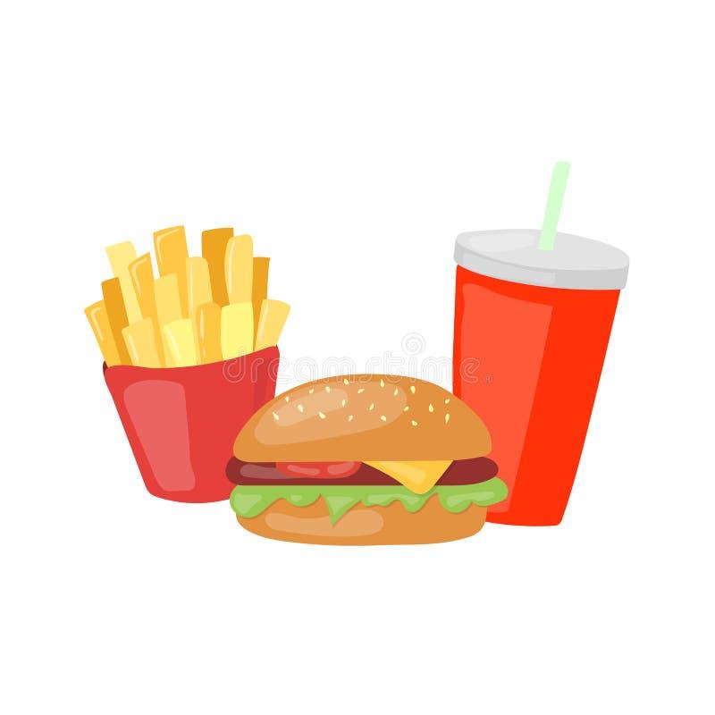 Fasta Food ustalony duży hamburger, francuzów dłoniaki i sodowana wektorowa ikona, ilustracja wektor