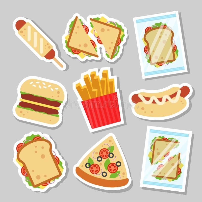Fasta food ustalony majcher dla luncheonette menu projekta Niezdrowa uliczna karmowa łata, hamburger pizzy ciasta kiełbasiana kan royalty ilustracja