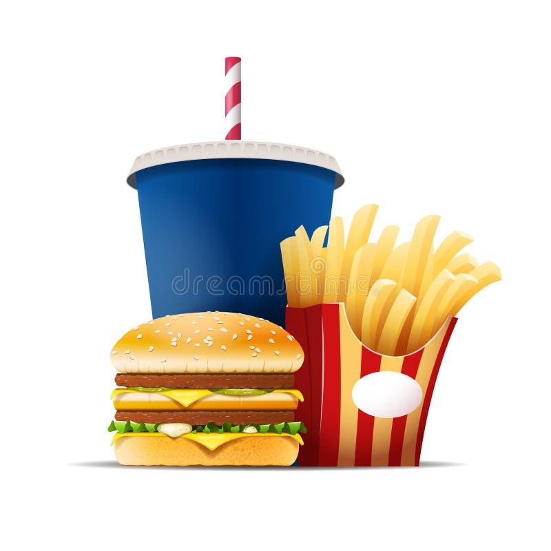 Fasta food wciąż życie z hamburgerem, dłoniakami i napojem, royalty ilustracja
