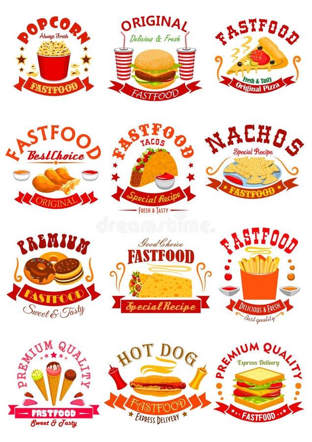 Fasta Food wektor odizolowywał ikony, emblematy, faborki ilustracji