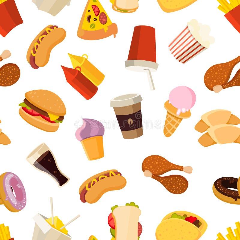 Fasta food wektorowy bezszwowy wzór royalty ilustracja