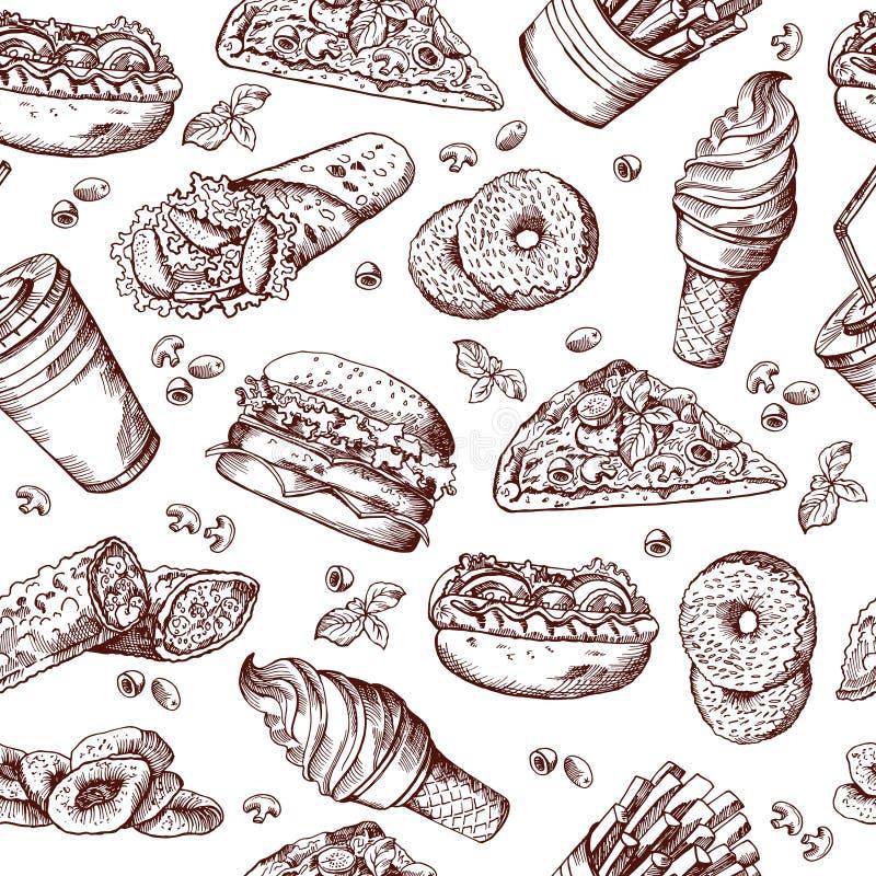 Fasta food wektorowy bezszwowy wzór Ręka rysująca ilustracja hamburger kanapki francuza i koli dłoniaki royalty ilustracja