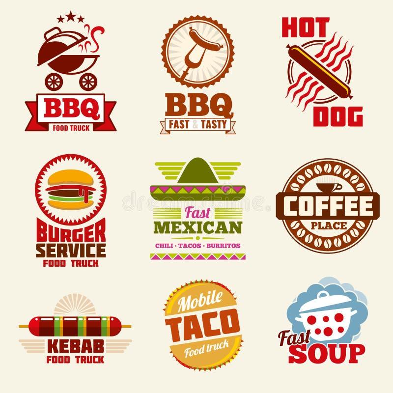 Fasta food wektorowy logo, emblematy, etykietki i odznaki ustawiający, royalty ilustracja