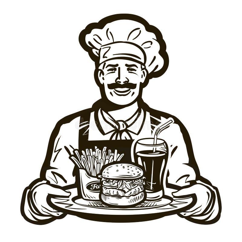 Fasta food wektoru logo restauracja, kucharz, szef kuchni ikona ilustracja wektor
