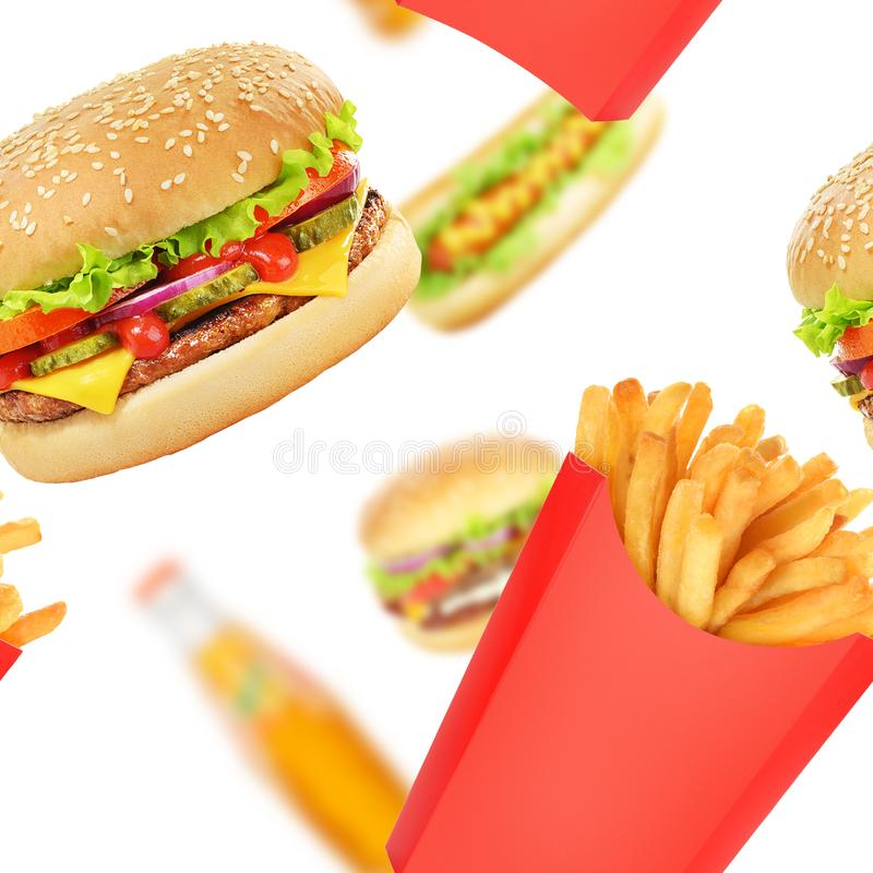 Fasta food wzór lub obrazy stock