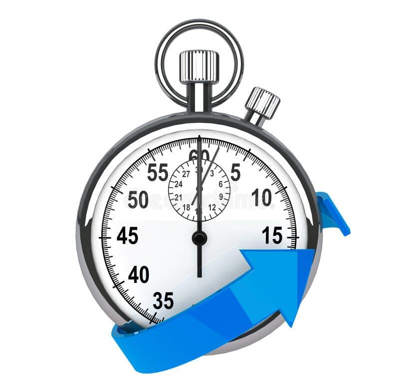 Stopwatch med blåttpilen stock illustrationer
