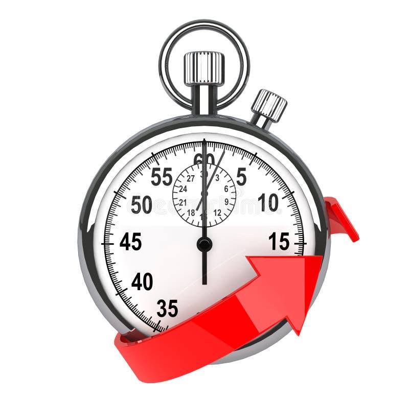 Stopwatch med den röda pilen stock illustrationer