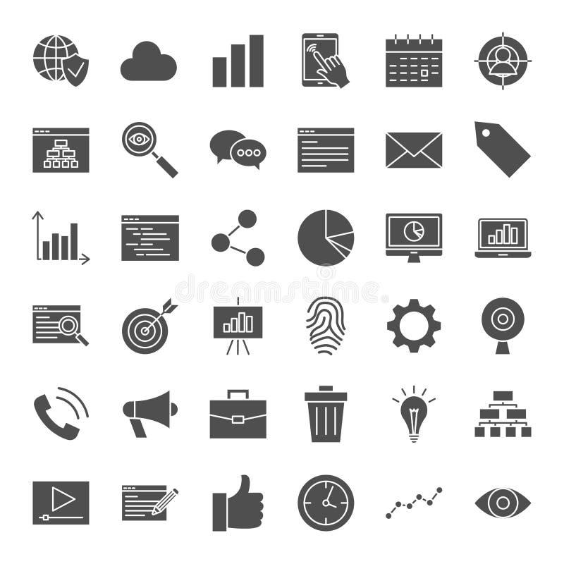 Fasta rengöringsduksymboler för utveckling stock illustrationer