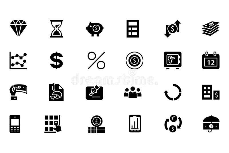 Fasta symboler 7 för finansvektor stock illustrationer