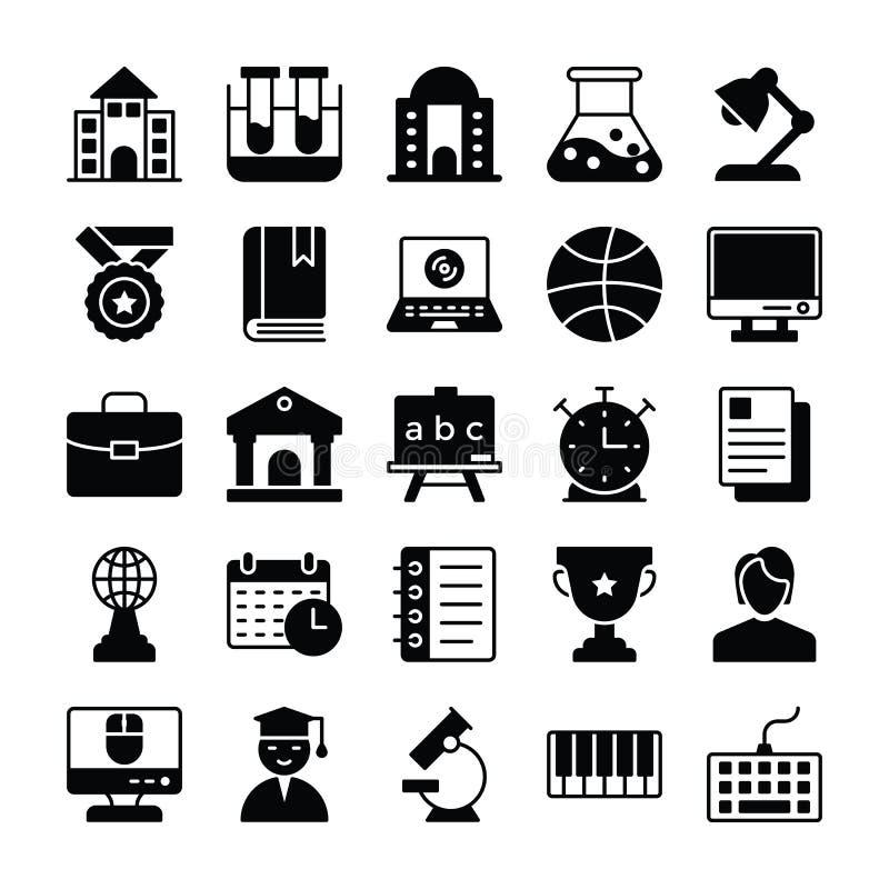 Fasta symboler 2 för utbildning vektor illustrationer