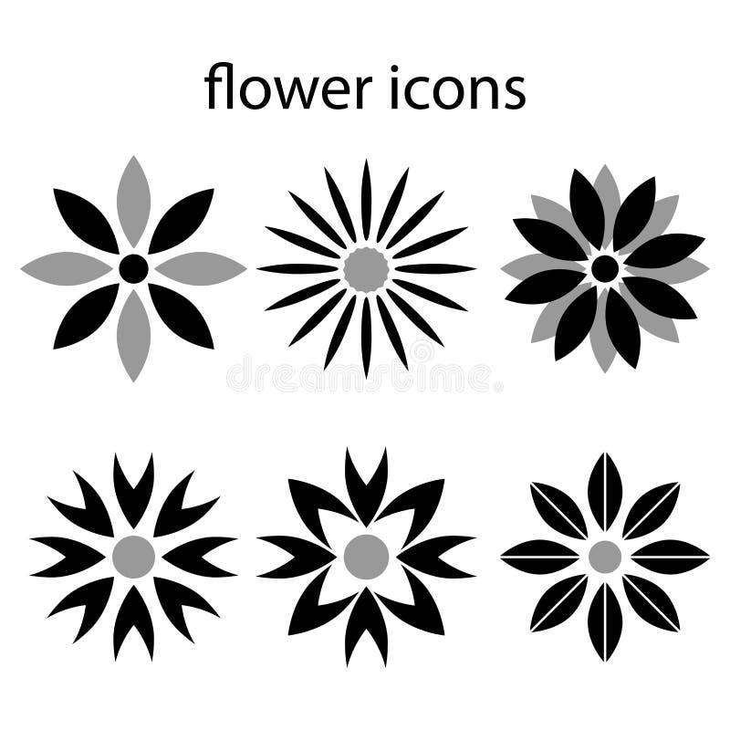 Fasta symbolsblommor st?llde in p? vita bakgrundsvektorillustrationer royaltyfri illustrationer