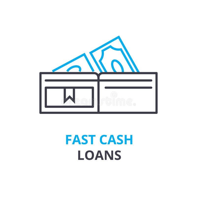 Fastar begreppet för kontanta lån, översiktssymbolen, det linjära tecknet, den tunna linjen pictogramen, logoen, den plana illust royaltyfri illustrationer