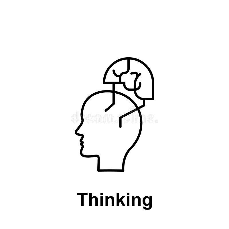Fastar löparen, hjärnsymbol Beståndsdel av det idérika namnet för thinkinsymbolswitn Tunn linje symbol för websitedesignen och ut stock illustrationer