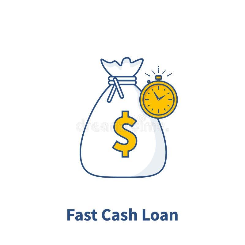 Fastar symbolen för det kontanta lånet, snabb pengarförsyn, affären och finansservice, betalning i rätt tid, den finansiella lösn stock illustrationer