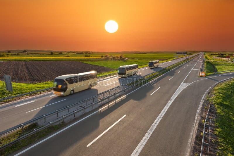 Fasten Reisebusse in Folge auf der Autobahn bei Sonnenuntergang stockfotografie