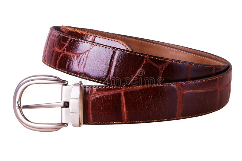 Fastened fashionable men`s brown leather belt stock images