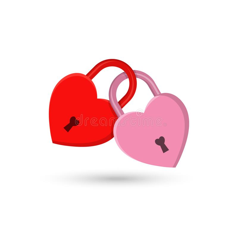 The fastened red and pink hearts stock illustration