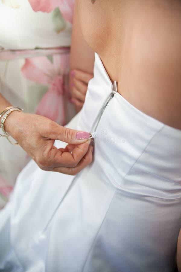 Download Fastening White Wedding Dress Stock Image - Image of married, dress: 25157349