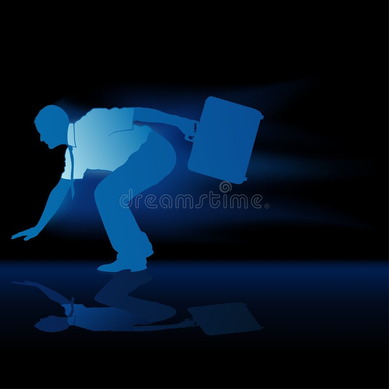 Faster Businessman Silhouette Stock Photography