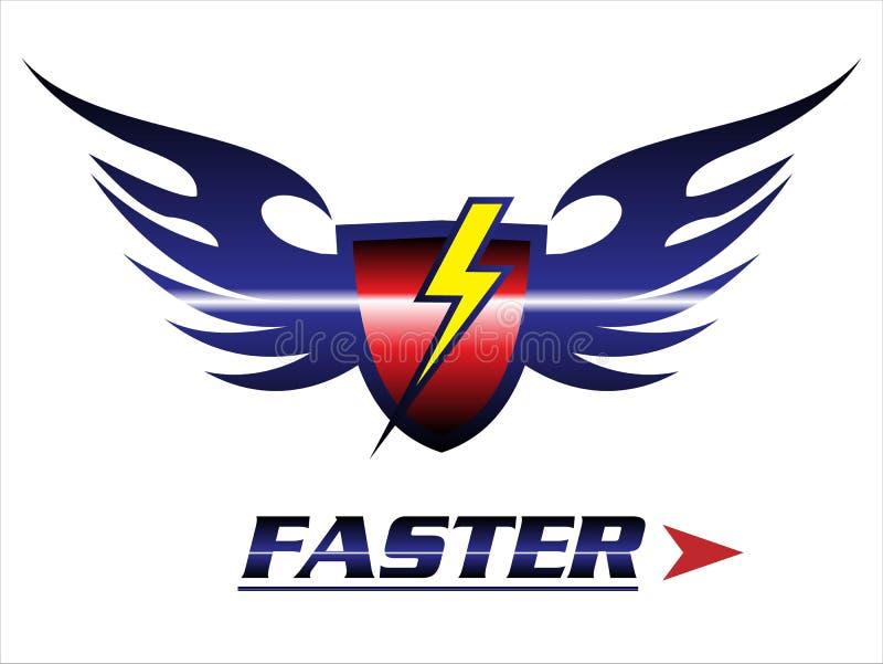 faster protetor & asas com o ícone claro ilustração do vetor
