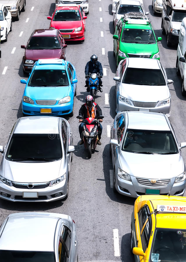 Faster way to transport on busy roads in bangkok royalty free stock images