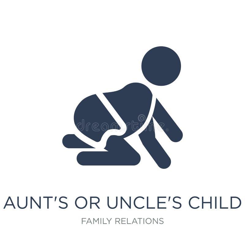 fasters eller farbrors barnsymbol Moderiktig plan vektorfaster eller farbror royaltyfri illustrationer