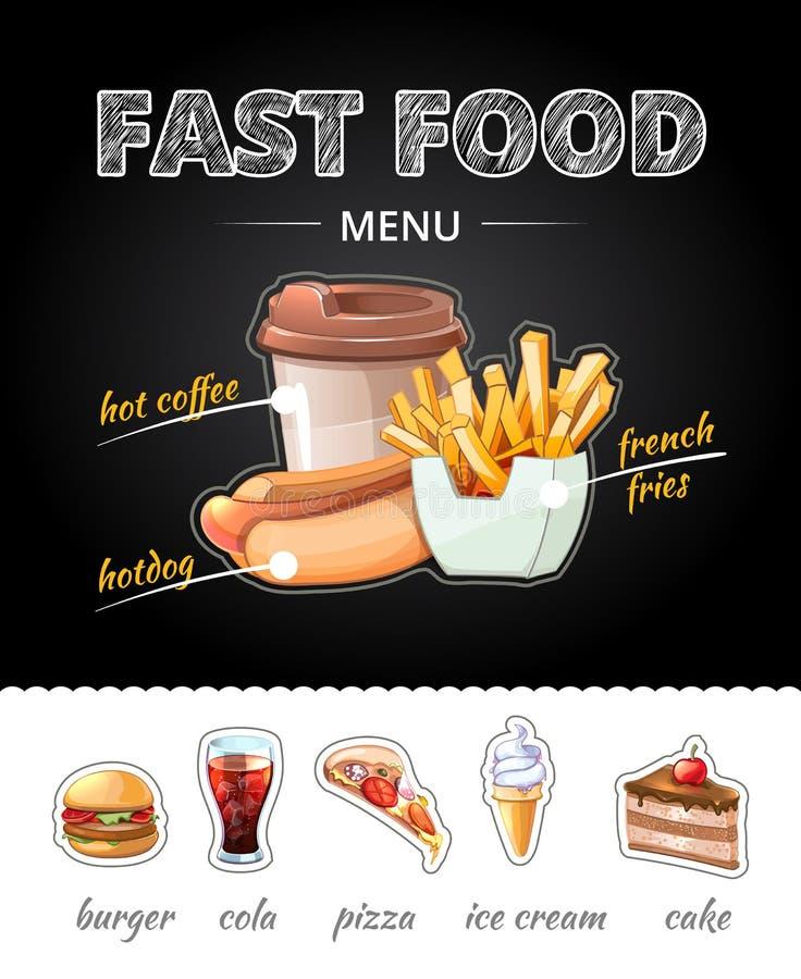 Fastfood advertising on chalkboard. Vector vector illustration