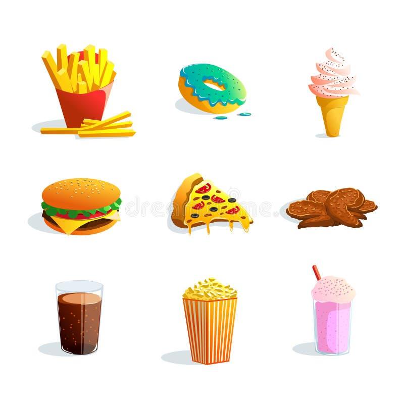 Fastfood Cartoon Set. Fastfood cartoon icons set with ice cream popcorn pizza hamburger fried potato donut products flat vector illustration stock illustration
