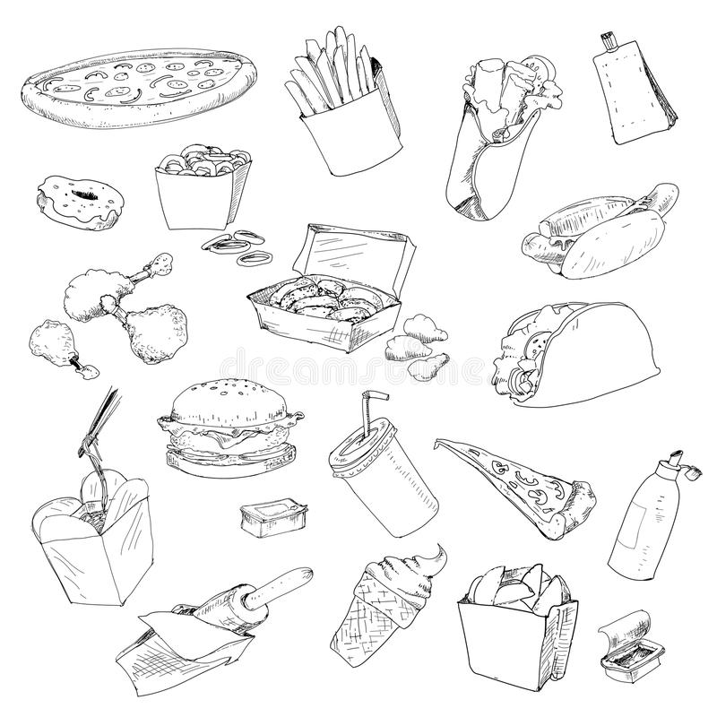 Fastfood collection. Set of hand drawn graphic illustrations vector illustration