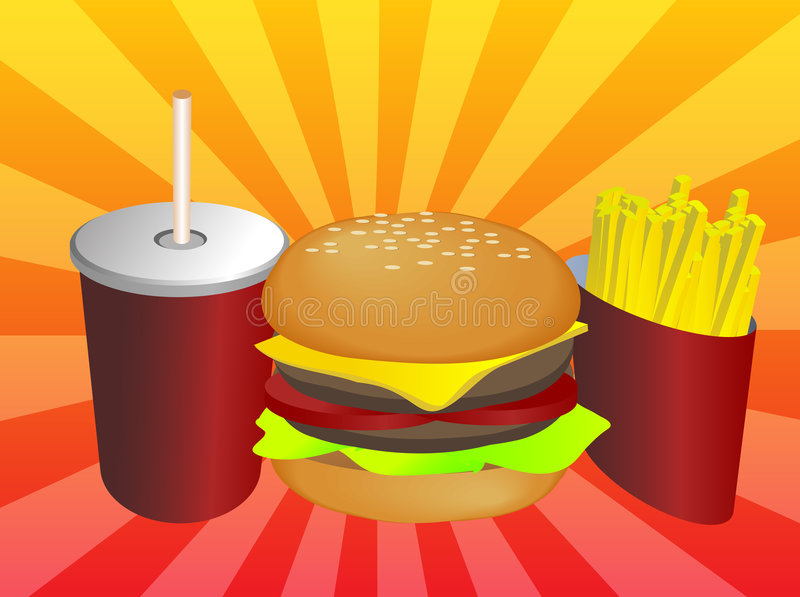 Fastfood combinado ilustração do vetor