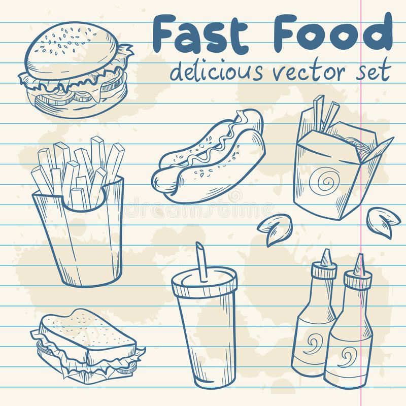 Fastfood delicious hand drawn set vector illustration