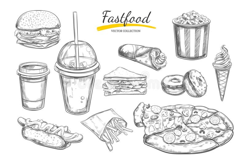 Fastfood dishes with drinks . Vector Hand drawn Isolated vector objects. Hamburger, pizza, hot dog, cheeseburger, coffee and soda. Fastfood dishes with drinks stock illustration