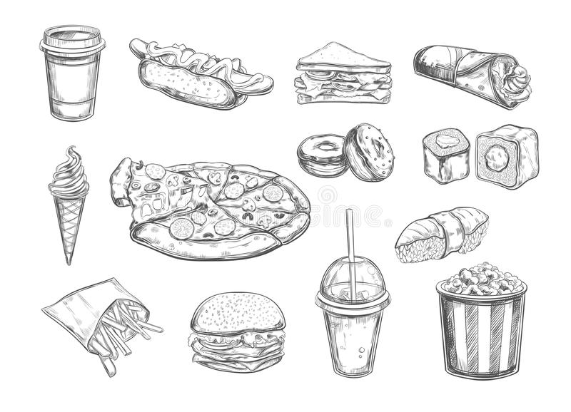 Fastfood dishes with drinks . Vector Hand drawn Isolated vector objects. Hamburger, pizza, hot dog, cheeseburger, coffee and soda cups, ice cream , french vector illustration