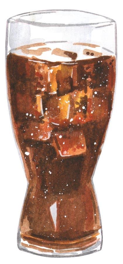 Fastfood exponeringsglas av med is cola, utdragen vattenfärgillustration för hand royaltyfri illustrationer