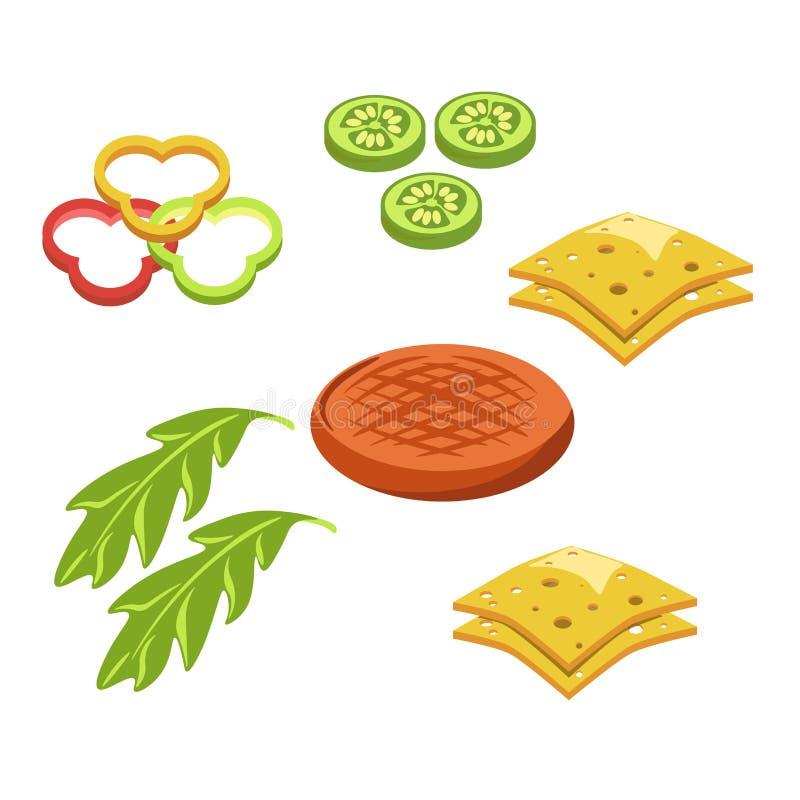 Fastfood för konstruktör för ingredienser för hamburgarehamburgare- eller ostburgaresnabbmat stock illustrationer