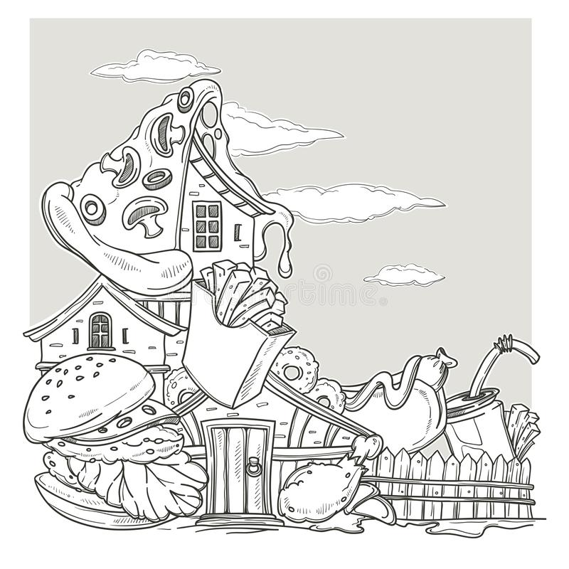 Fastfood House, Lovely Cartoon Castle, Made From burger, pizza a stock illustration