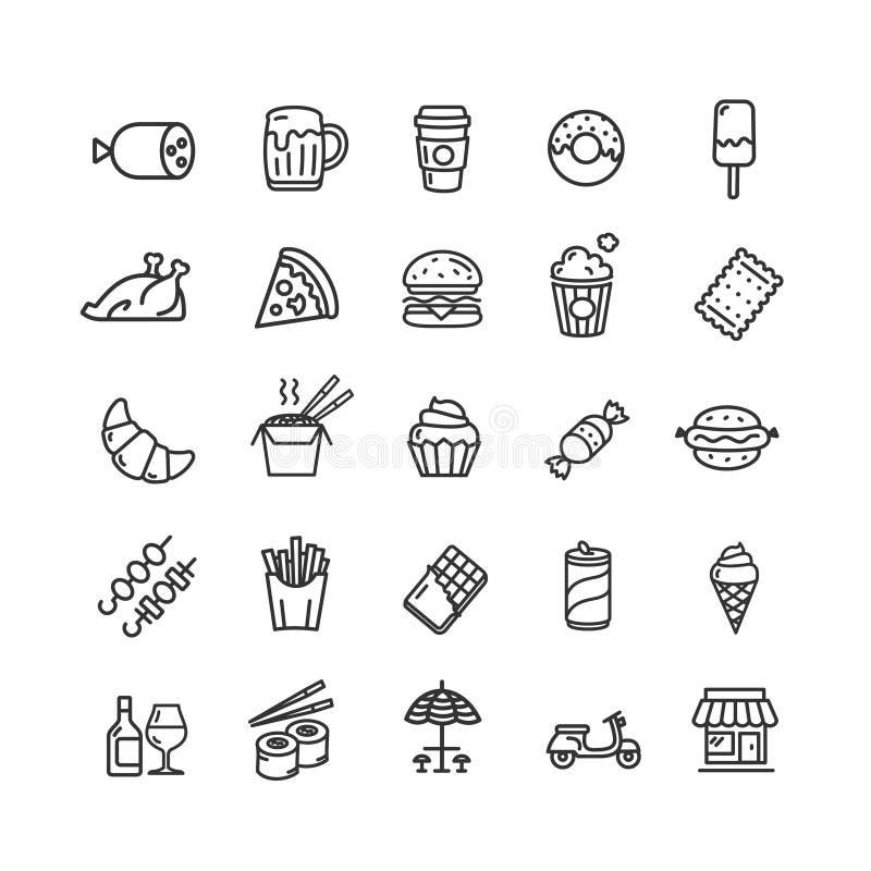 Fastfood i ulicy Karmowego czerni ikony Cienki Kreskowy set wektor ilustracji