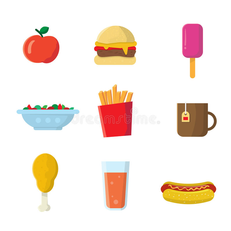 Fastfood Icons. Fastfood junk food cartoon vector icons. Burger, juice drink, french potato fries, coffee cup, hot dog, salad, ice cream, cheeseburger, sausage royalty free illustration