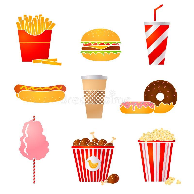 Fastfood icons. Vector set of nine fastfood icons stock illustration