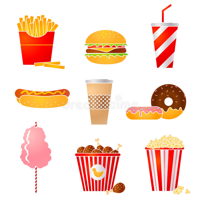 Fastfood ikony ilustracji