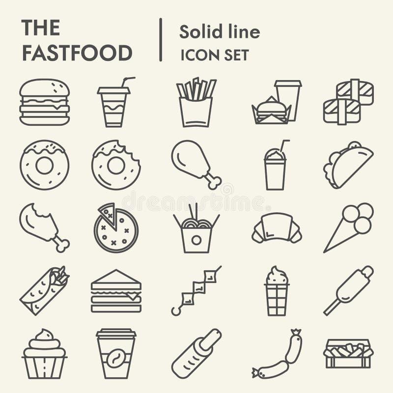Fastfood ikony kreskowy set, karmowi symbole kolekcja, wektor kreśli, logo ilustracje, posiłków znaków liniowi piktogramy ilustracja wektor